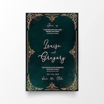 Hermosa tarjeta de invitación de boda con adornos dorados