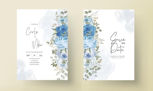 Hermosa tarjeta de invitación de boda con adornos de peonías azules dibujados a mano
