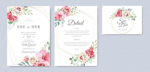 Hermosa tarjeta de invitación de boda con corona floral