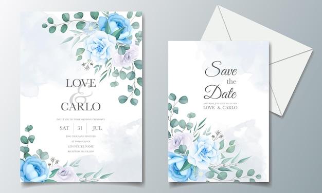 Hermosa tarjeta de invitación de boda con decoración floral
