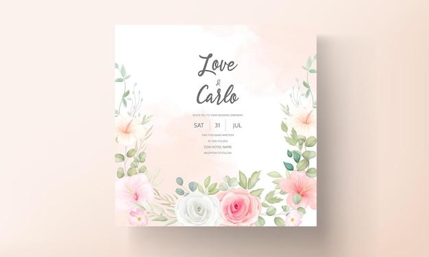 Hermosa tarjeta de invitación de boda de diseño floral