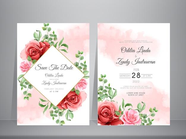 Hermosa tarjeta de invitación de boda de eucalipto y rosas florecientes dibujadas a mano