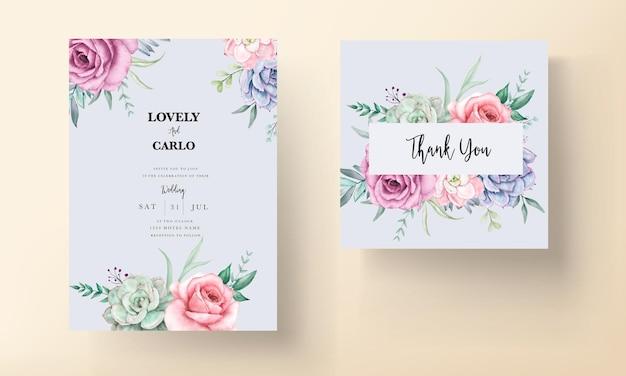 Hermosa tarjeta de invitación de boda floral acuarela con rosas y suculentas
