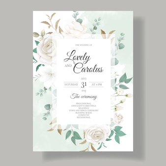 Hermosa tarjeta de invitación de boda floral y hojas