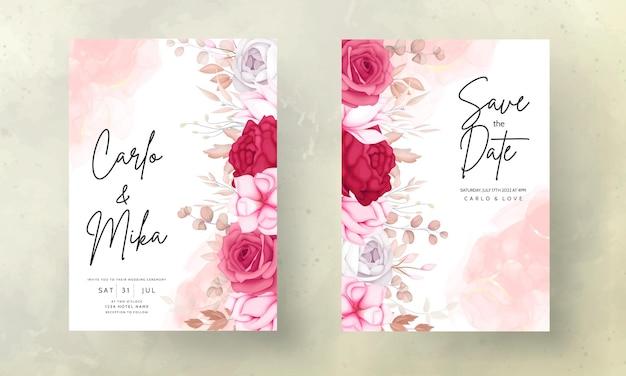 Hermosa tarjeta de invitación de boda floral marrón y marrón
