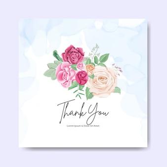 Hermosa tarjeta de invitación de boda floral y plantillas