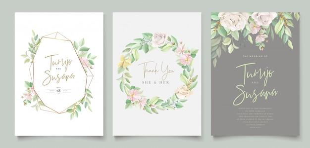 Hermosa tarjeta de invitación de boda floral suave y hojas