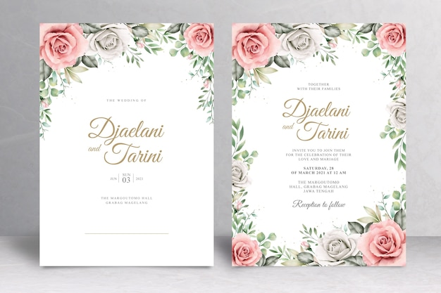 Hermosa tarjeta de invitación de boda floral