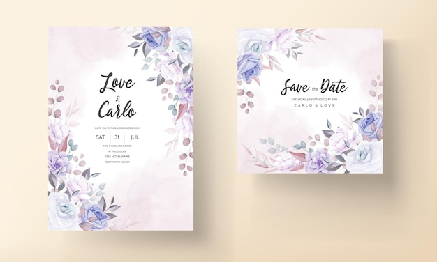 Hermosa tarjeta de invitación de boda con flores de color púrpura