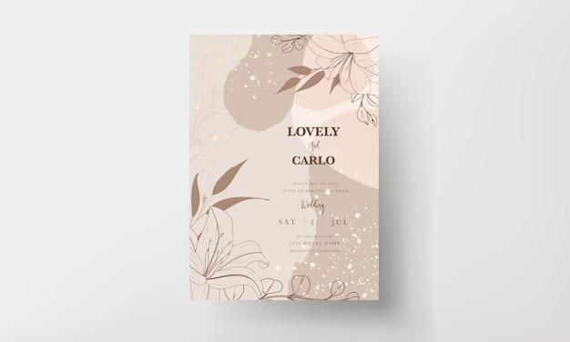 Hermosa tarjeta de invitación de boda de flores y hojas monoline vector gratuito