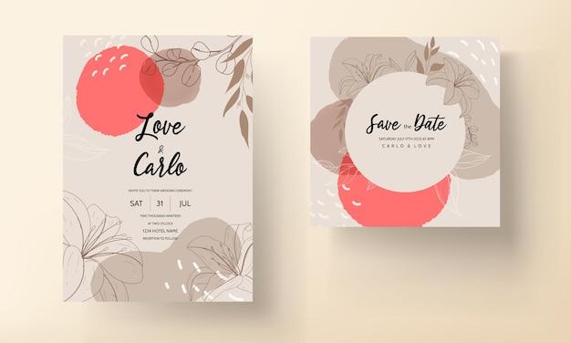 Hermosa tarjeta de invitación de boda de flores y hojas monoline