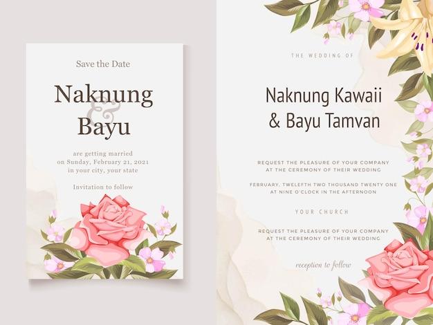 Hermosa tarjeta de invitación de boda con flores y hojas