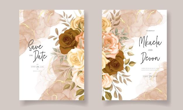 Hermosa tarjeta de invitación de boda de flores de otoño con tinta de alcohol
