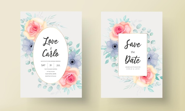 Hermosa tarjeta de invitación de boda con hermosa decoración floral.