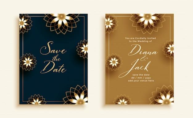 Hermosa tarjeta de invitación de boda negra y dorada