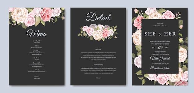 Hermosa tarjeta de invitación de boda con plantilla floral y hojas