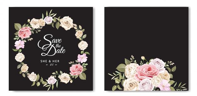 Hermosa tarjeta de invitación de boda con plantilla floral