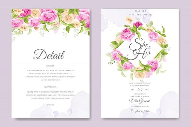 Hermosa tarjeta de invitación con coloridas flores y plantilla de hojas