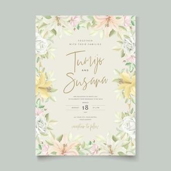 Hermosa tarjeta de invitación de flores de lirio floral