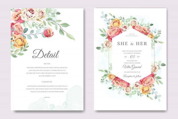 Hermosa tarjeta de invitación con plantilla de corona floral