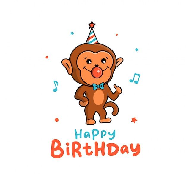 La hermosa tarjeta de un mono de vacaciones. un personaje de dibujos animados divertidos