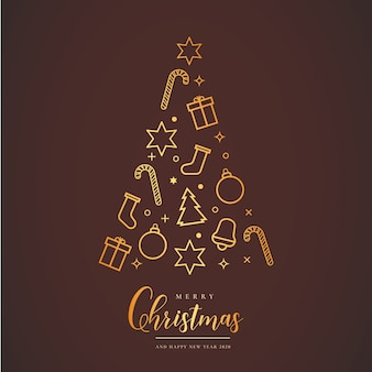 Hermosa tarjeta de navidad con árbol