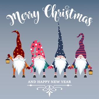 Hermosa tarjeta de navidad de diseño plano con gnomos