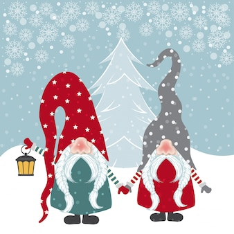 Hermosa tarjeta de navidad de diseño plano con ilustración de gnomos felices