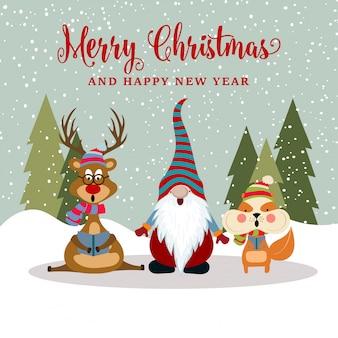 Hermosa tarjeta de navidad de diseño plano con reno, ardilla y gnomo.