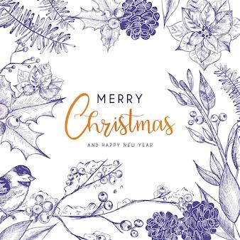 Hermosa tarjeta de navidad con flores vintage