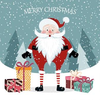 Hermosa tarjeta de navidad plana con santa. cartel de navidad.