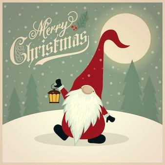 Hermosa tarjeta de navidad retro con gnomo