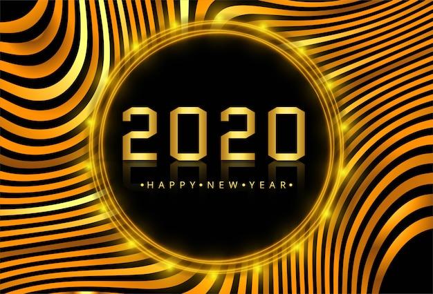 Hermosa tarjeta de oro de año nuevo 2020 en ola