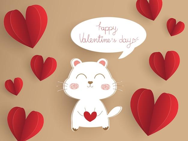Hermosa tarjeta de papel cortado en marrón. diseño de concepto de san valentín con lindo perro blanco.