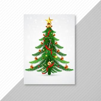 Hermosa tarjeta de plantilla de vacaciones de árbol de navidad