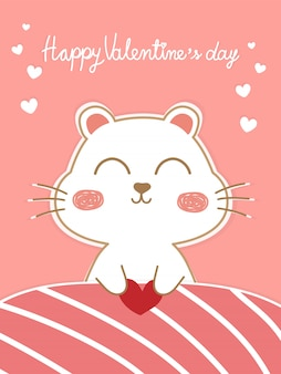 Hermosa tarjeta de san valentín con perro lindo rosa y blanco pastel bajo una manta rosa.
