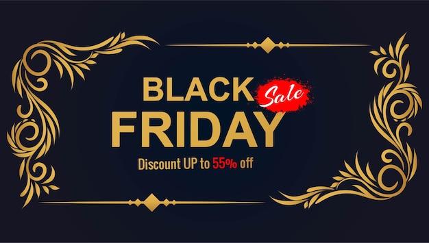 Hermosa tarjeta de venta de viernes negro para marco floral