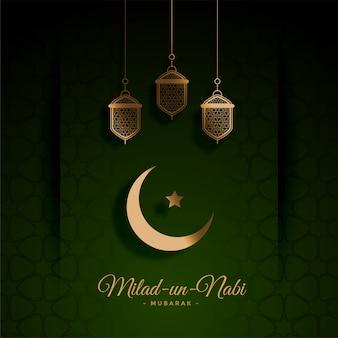 Hermosa tarjeta verde del festival milad un nabi
