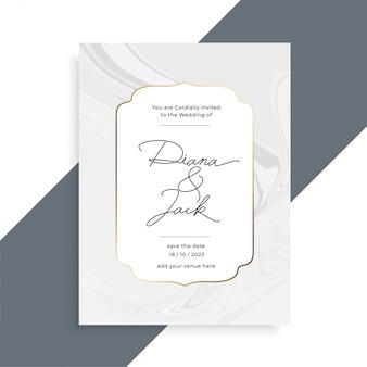 Hermosa textura de mármol plantilla de tarjeta de invitación de boda