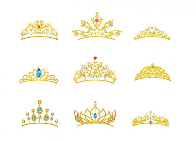 Hermosa tiara de oro con diferentes tamaños y modelos