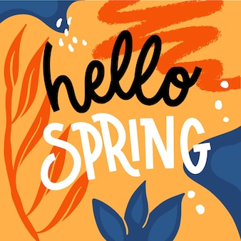 Hermosa tipografía hola primavera