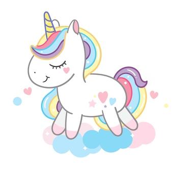 Hermosa unicornio en pastel podría