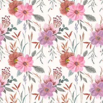 Hermosa vintage floral acuarela de patrones sin fisuras
