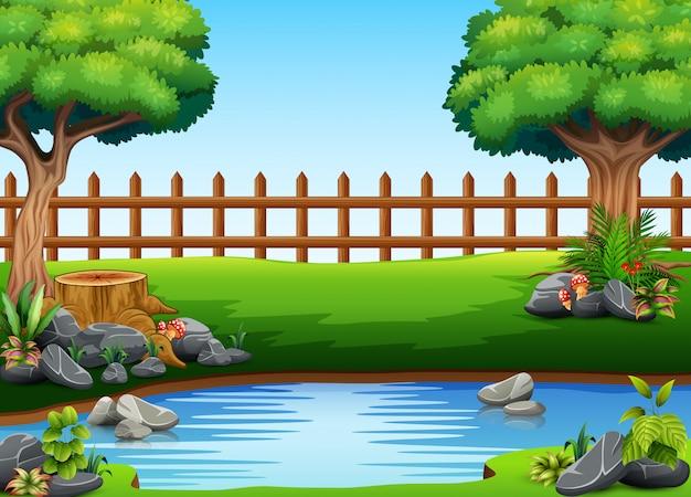 Hermosa vista al parque con un estanque