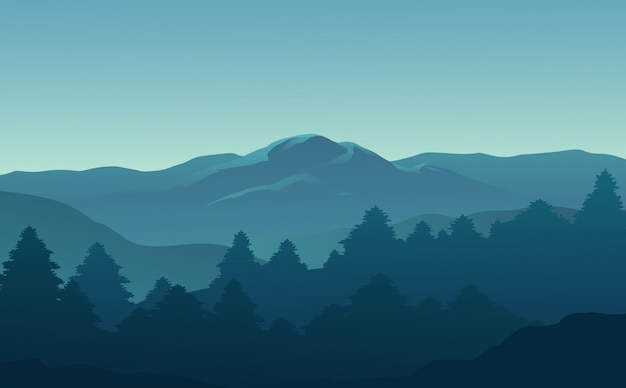 Hermosa vista del bosque y las montañas por la mañana.