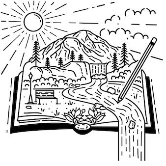 Hermosa vista en el libro