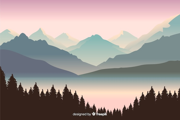 Hermosa vista con paisaje de montañas