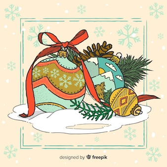 Hermosas bolas de navidad dibujadas a mano