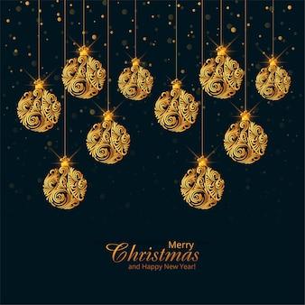 Hermosas bolas de navidad doradas sobre fondo negro