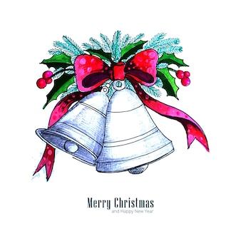 Hermosas campanas de navidad adornan elementos acuarela fondo